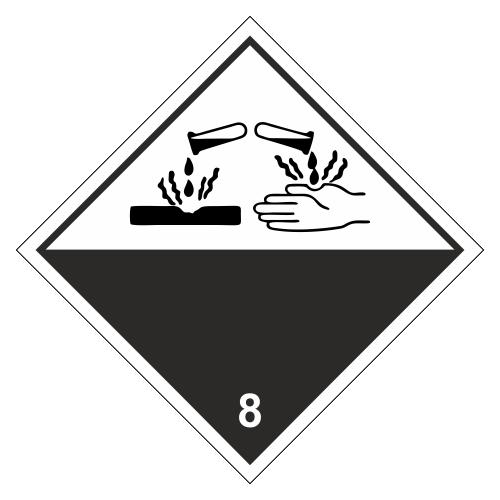 Знак опасности. Класс 8.1, 8.2, 8.3. Едкое/коррозионное вещество