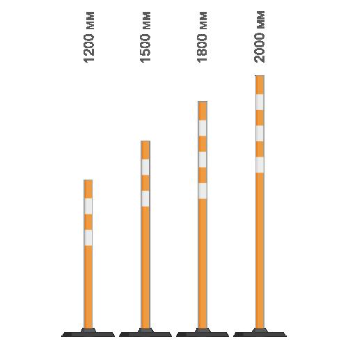 Веха сигнальная пластиковая с резиновой подставкой оранжевая [2,0 м]