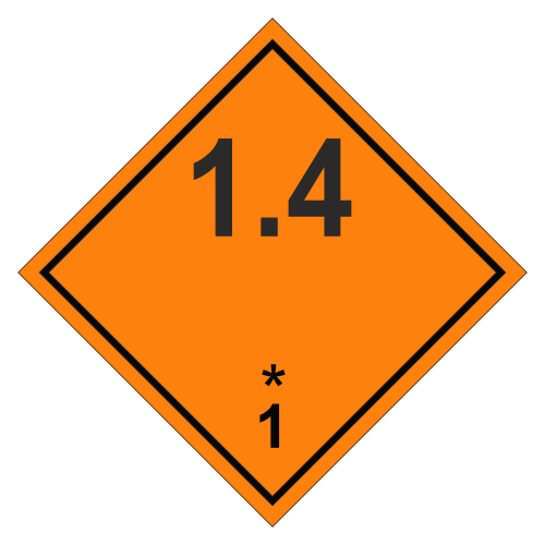 Знак опасности. Класс 1.4. Взрывчатое вещество