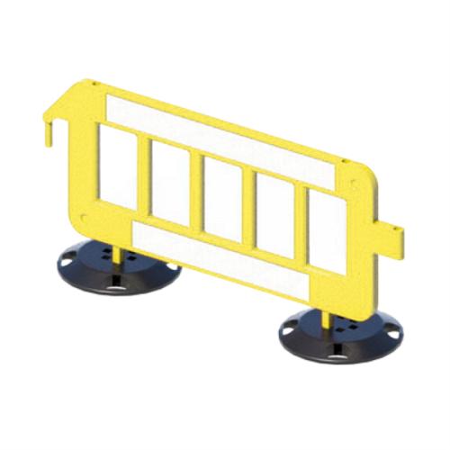 Дорожное пластиковое ограждение штакетного типа P2000 на круглых опорах [желтое]